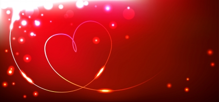 Vector love card with heart and lights Illustration