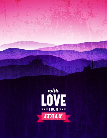 Vintage poster with a landscape of Tuscany