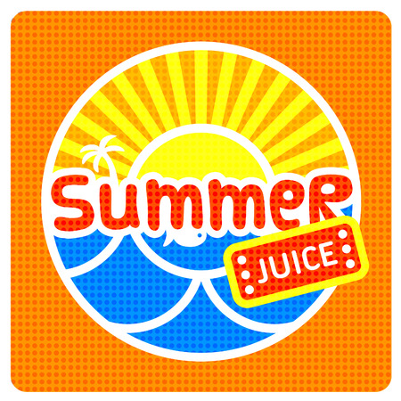 suns: Summer juice label with abstract suns and sea  Vector illustration