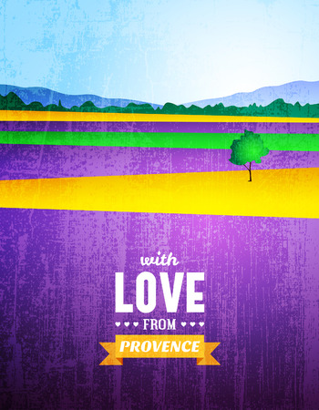provence: Vector poster with a landscape of Provence Illustration