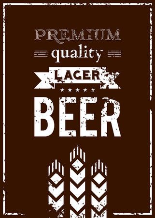 Vector design of beer label with ears of barley  Vector