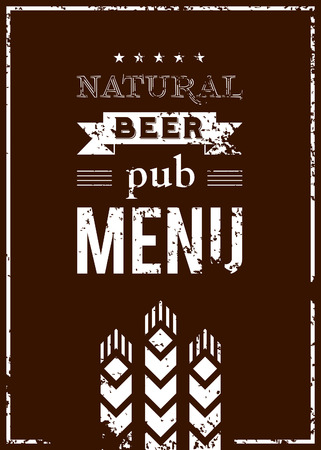Vector beer menu for the pub with ears of barley Stock Vector - 26592442