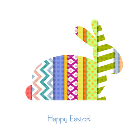 Greeting card with Easter Bunny in patchwork style Vector