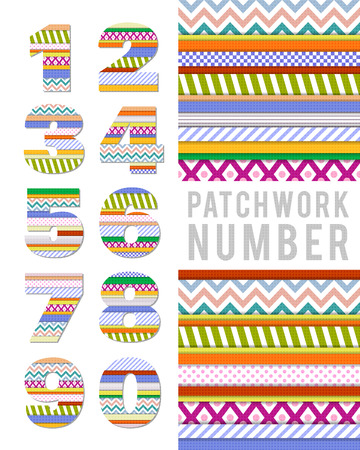 six point: Numbers in patchwork style on a white background  Vector illustration