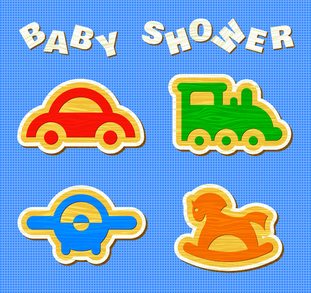 Baby shower  Vector set of wooden toys  Vector