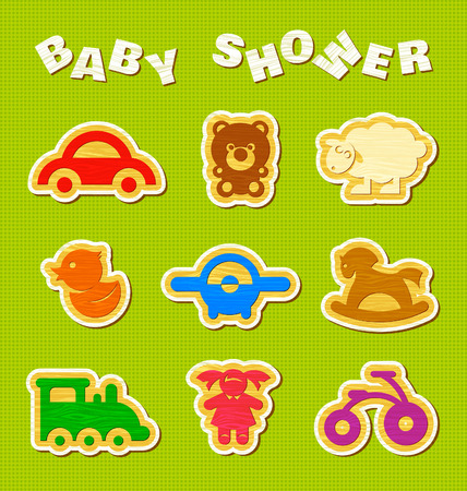 Baby shower set of wooden toys. Vector