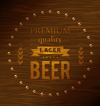 Premium quality lager beer on a wooden surface Vector