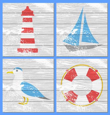 Vector lighthouse, yacht, seagulls and lifebuoy on a white wooden board