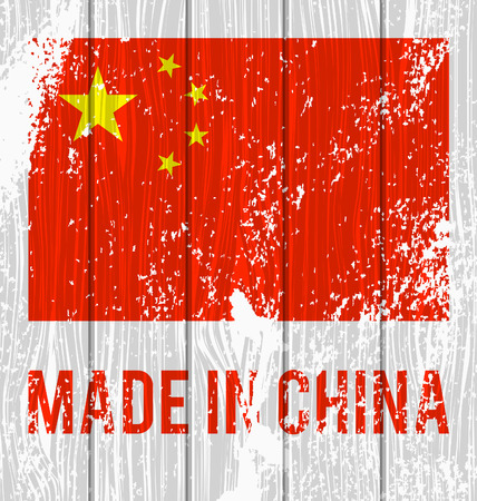 Vector flag of China and the inscription \Made in China\ on a white wooden board