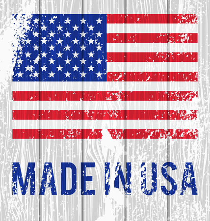 made in the usa: Vector flag of the United States and the words Made in USA on a white wooden board