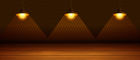 The three lamps in the room with a wooden floor. Vector illustration.