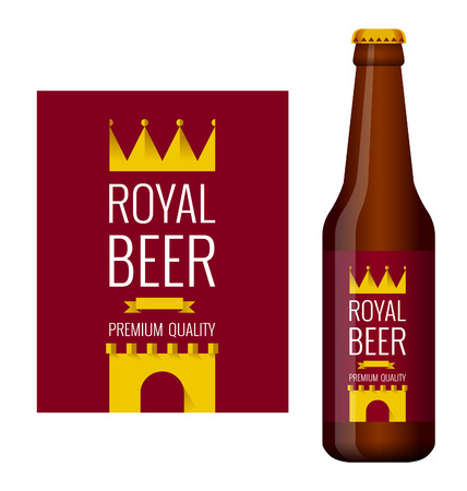 Design of beer label and bottle of beer with label