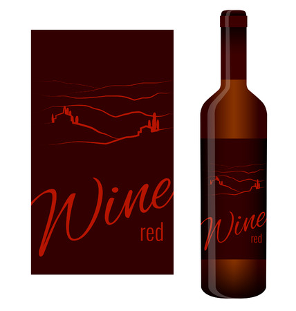 regional product: Wine label and bottle of wine with label Illustration