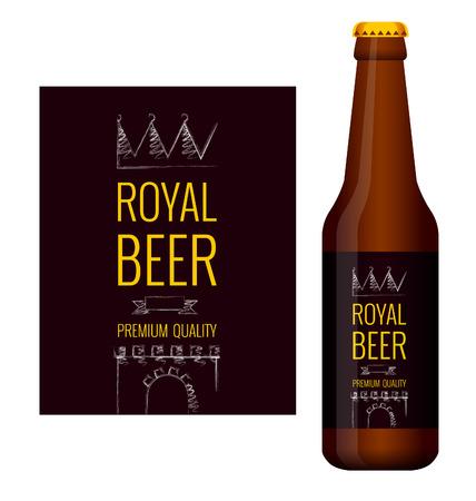 Ontwerp van bieretiket en fles bier met dit label. Vector illustratie