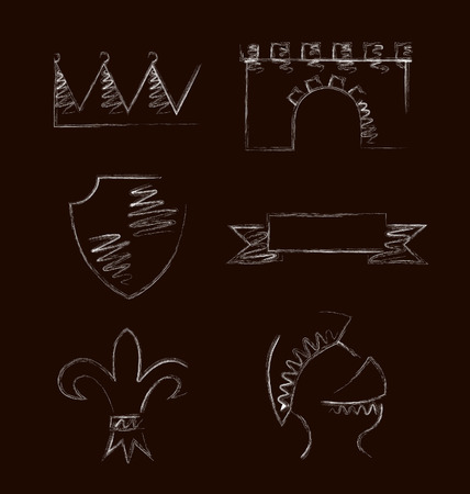knighthood: Design of heraldic symbols and elements. Vector illustration Illustration