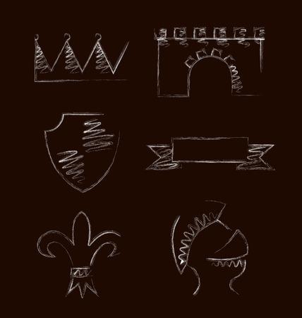 heraldic symbols: Design of heraldic symbols and elements. Vector illustration Illustration