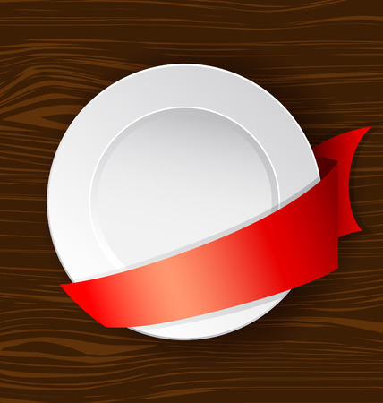 webbing: Vector dish with red ribbon on a wooden surface Illustration