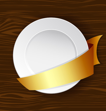 webbing: Vector dish with gold ribbon on a wooden surface