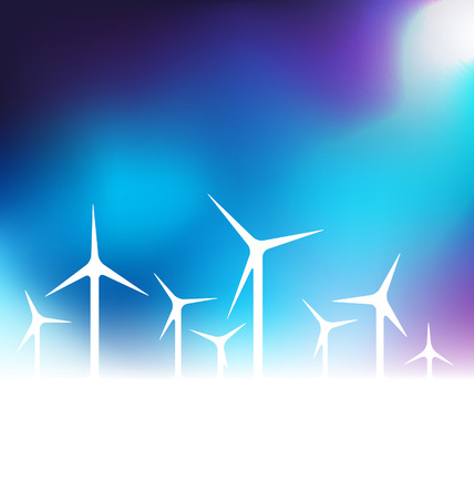 energies: Vector illustration with wind turbine on blue background