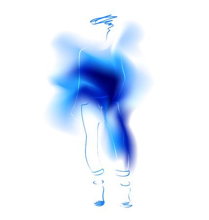 Watercolor sketch of a fashion model. Vector illustration Vector