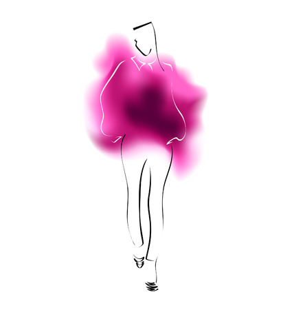 high heeled: Watercolor sketch of a fashion model. Vector illustration
