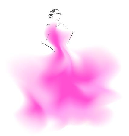 Sketch of a wedding fashion model. Vector illustration Ilustração