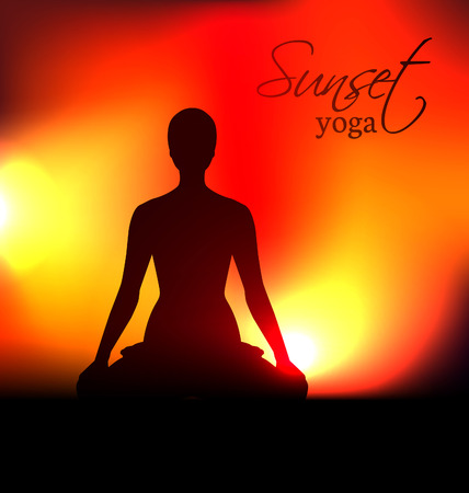 Yoga woman silhouette at sunset. Vector illustration Vector