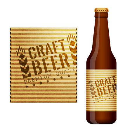 packing material: Design of beer label and bottle of beer with this label Illustration