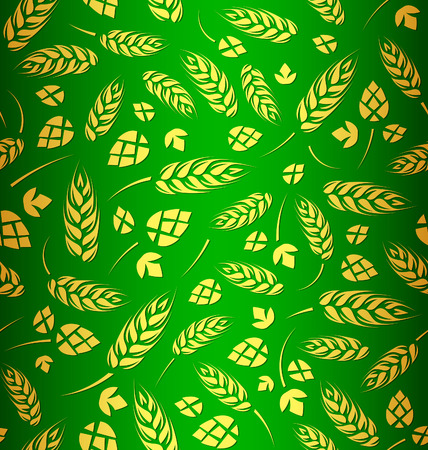 Decorative vector seamless pattern with hops and malt Illustration