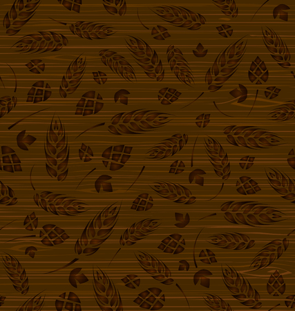 malt: seamless pattern with hops and malt on a wooden texture