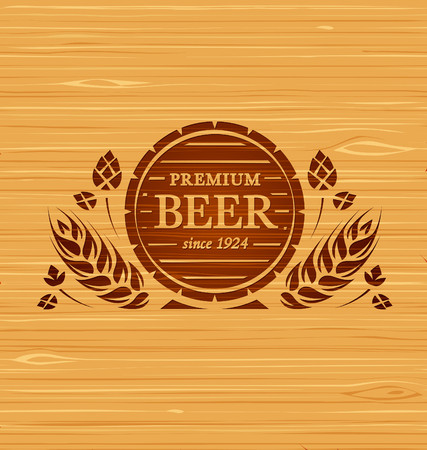 Vector template beer emblem on a wooden background