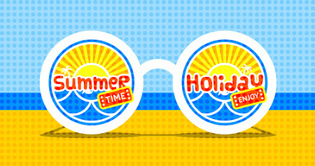 summer time: Summer time. Vector abstract sunglasses on the beach.