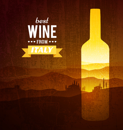 quality regional: Wine bottle with the landscape of Tuscany. Vector poster. Illustration
