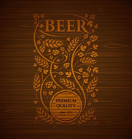 木製の背景に麦芽とホップとビールのベクトルエンブレム