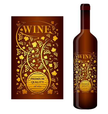 Vector wine label with floral ornament of grape bunches and grape leaves