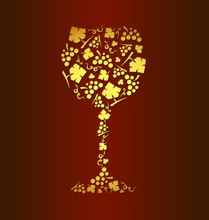 装飾的なベクトル ワイン ガラスのブドウの房し、ブドウの葉