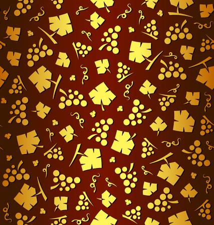ブドウとブドウの葉の束を装飾的なベクトルでシームレスなパターン