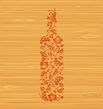 装飾的なベクトル ワイン ボトルのブドウの房し、ブドウの木のテクスチャの葉  イラスト・ベクター素材