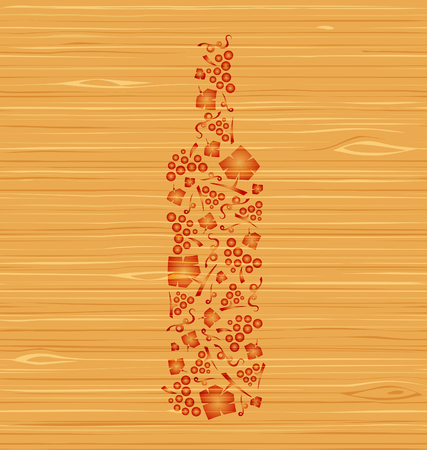 wine bottles: Decorative vector wine bottle of grape bunches and grape leaves on a wooden texture