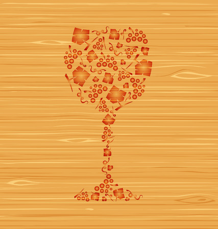 Decorative vector wine glass of grape bunches and grape leaves on a wooden texture