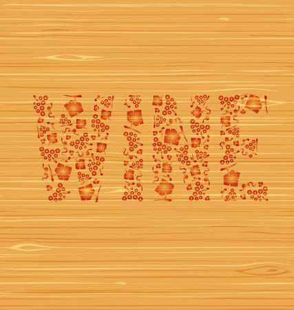 ベクトル単語ワイン ブドウの房し、ブドウの木のテクスチャの葉  イラスト・ベクター素材