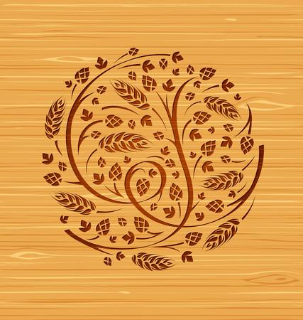 Vector floral ornament of hops and malt on a wooden background Illustration