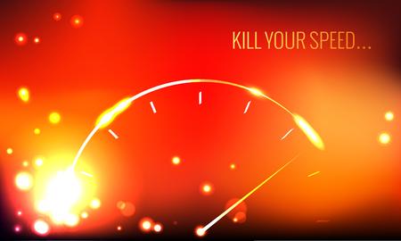 ベクトルのポスター。あなたの速度を殺します。抽象的なスピード メーター。