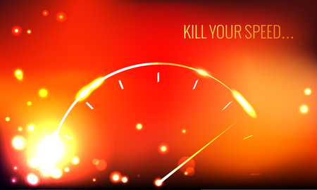 Vector poster. Kill your speed. Abstract speedometer. Illustration
