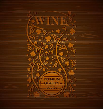 ブドウとワインのベクトル紋章房し、木製の背景上のブドウの葉  イラスト・ベクター素材