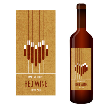 abstract heart: Vector wine label with abstract heart of glasses of wine