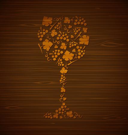 装飾的なベクトル ワイン ガラスのブドウの房し、ブドウの木のテクスチャの葉