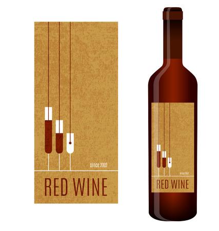 注ぐワインおよびワインのグラスとワインのラベル。
