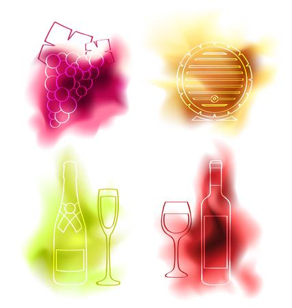 ワインのベクトルを設定します。ブドウ、ワイン樽、瓶、赤ワイン、ボトルとシャンパン グラスのガラス  イラスト・ベクター素材