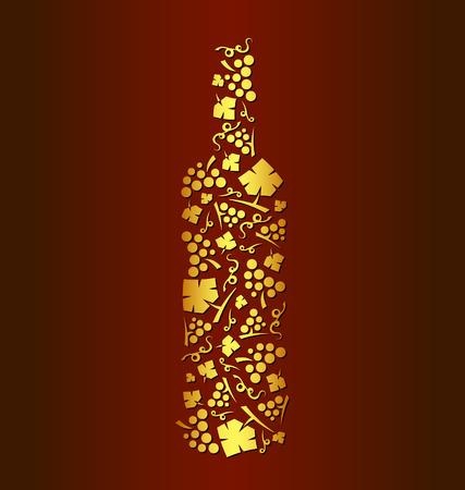 Decoratieve vector wijn fles druivenbossen en druivenbladeren